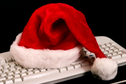 santa hat on keyboard