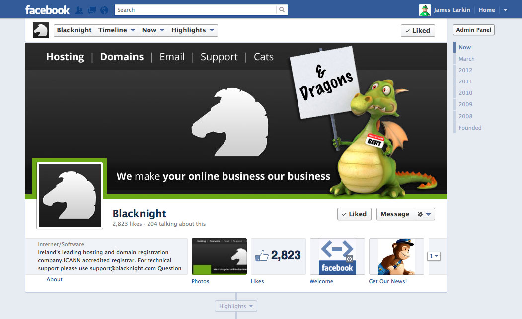 Blacknight's Facebook Page