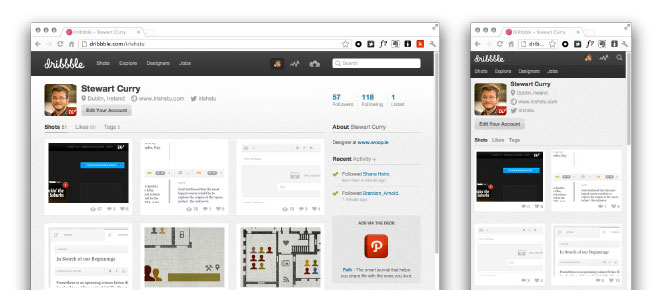 Dribbble.com at two different screen sizes