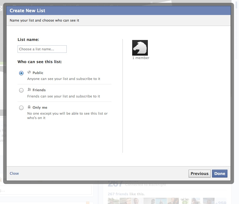 Naming a new facebook interest list and setting list privacy options