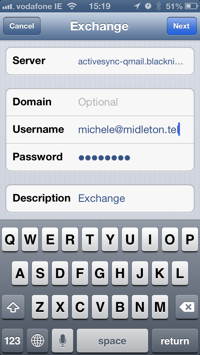 email settings on iPhone for push email