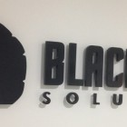 Blacknight logo mounted on the wall inside Blacknight HQ in Carlow, Ireland