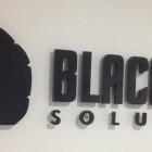 Blacknight logo mounted on the wall inside Blacknight HQ in Carlow, Ireland