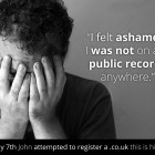 John felt ashamed he couldn't register a .co.uk