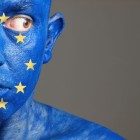 Man With His Face Painted With The Flag Of European Union (5)