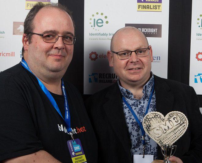 Michele Neylon (left), CEO Blacknight, presents the Grand Prix to Philip Markey, Brú Brewery, at the Blacknight SME Awards 2016. Photo Credit: Ryan Whalley.