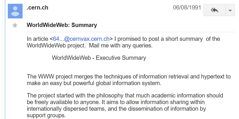 August 6 1991: Tim Berners-Lee posts details of The WWW Project on alt.hypertext.