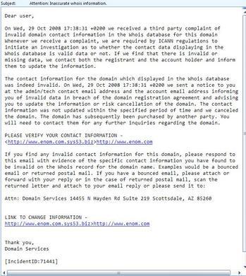 enom phishing email
