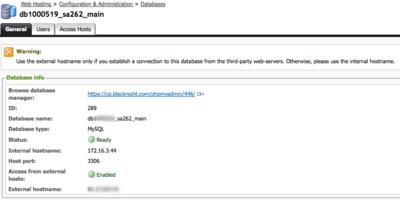 mysql database host settings