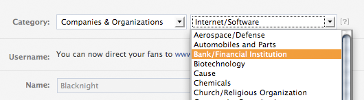Choose your facebook page classification / category