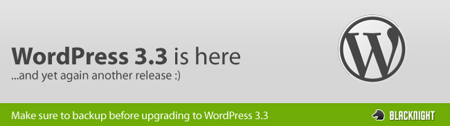 Wordpress 3.3 is here
