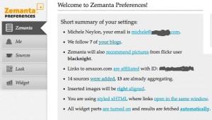 Zemanta preferences screen