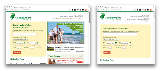 Go Ireland website at different screen sizes