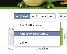 "Facebook ""add to interest list"" dialog box"