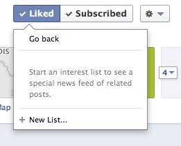 """Facebook - create a new """"interest list"""" dialog box"""