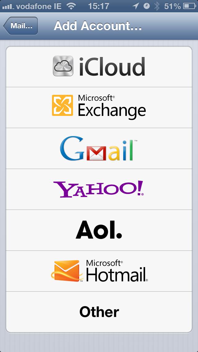 iPhone Add Microsoft Exchange account