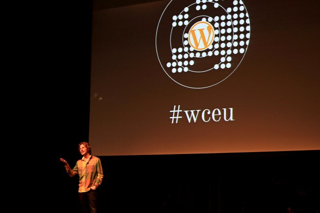 Matt Mullenweg on stage at WCEU