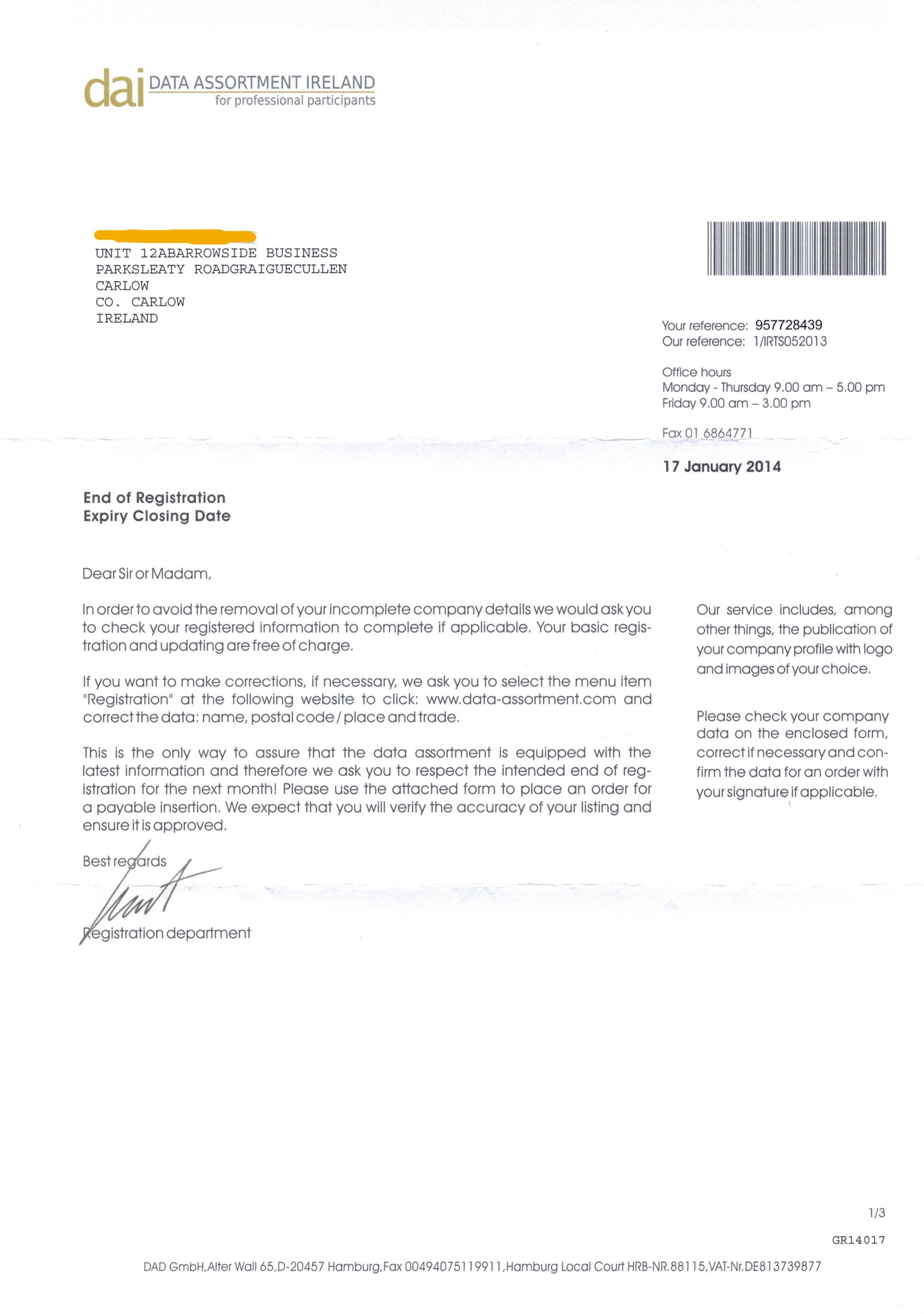 Data assortment Ireland letter