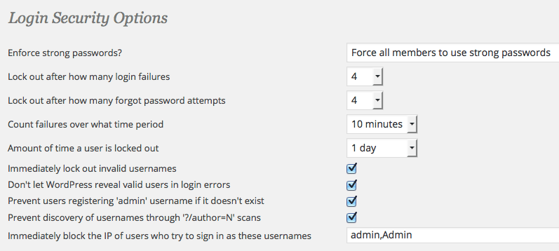 Wordfence security Login preferences