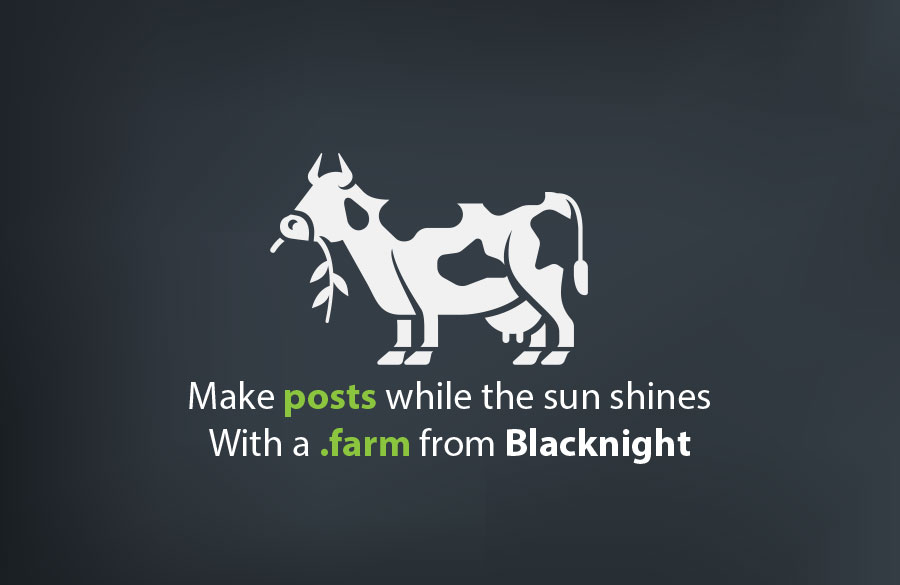 ".farm image of cow with slogan ""Make posts while the sun shines with a .farm from Blacknight"""