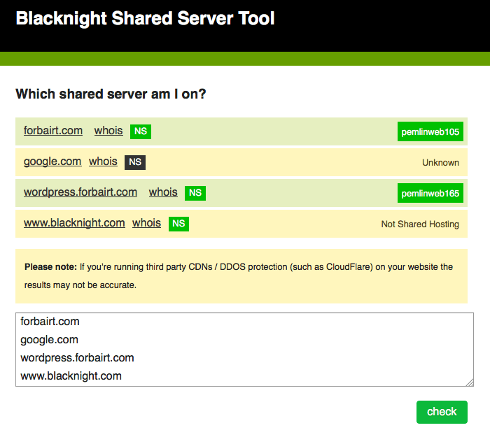 Blacknight Shared Hosting Server Tool
