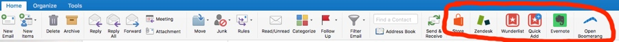 Office 365 add-in toolbar in Outlook on Mac OSX