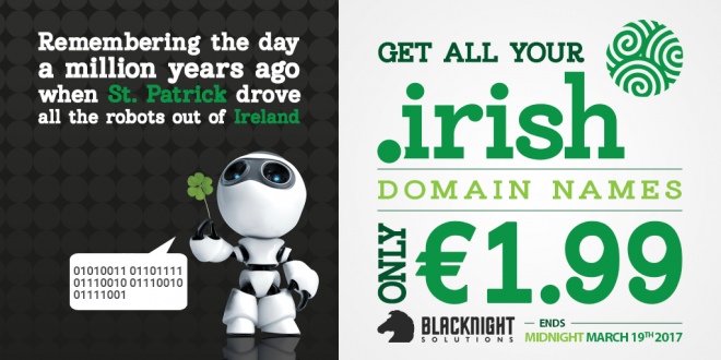 dot-IRISH domains only €1.99 for St Patrick's Day at Blacknight!