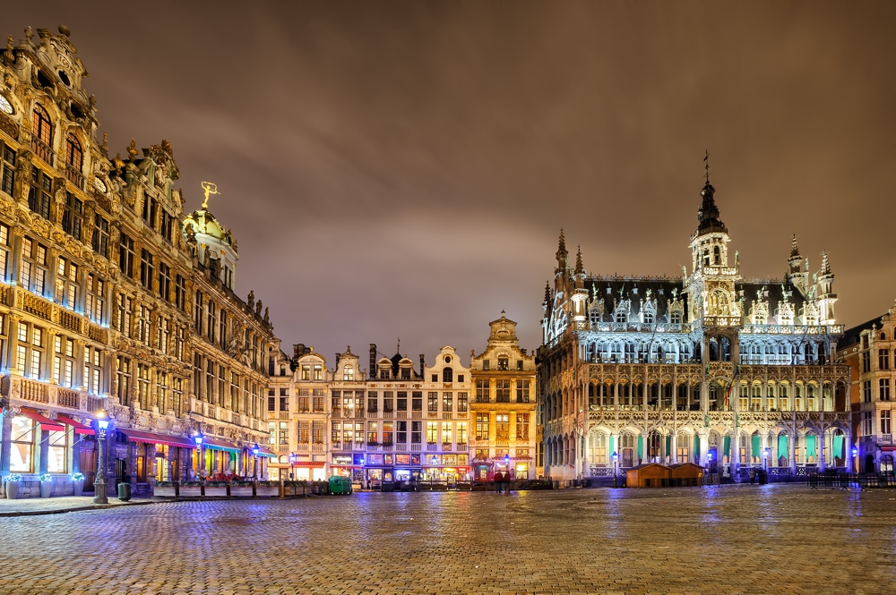 The Grand Place or Grote Markt with the Breadhouse is the central square of Brussels Belgium and UNESCO World Heritage Site