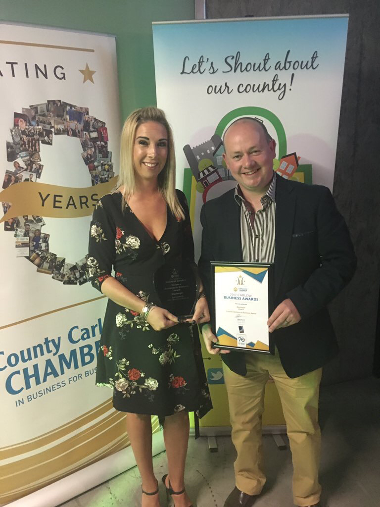 Dawn Lambe and Alan O'Reilly pictured at the Carlow Chamber Awards
