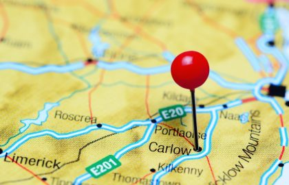 Carlow pinned on a map of Ireland