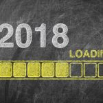 Progress Bar Showing Loading of 2018 New Year on Chalkboard extreme closeup