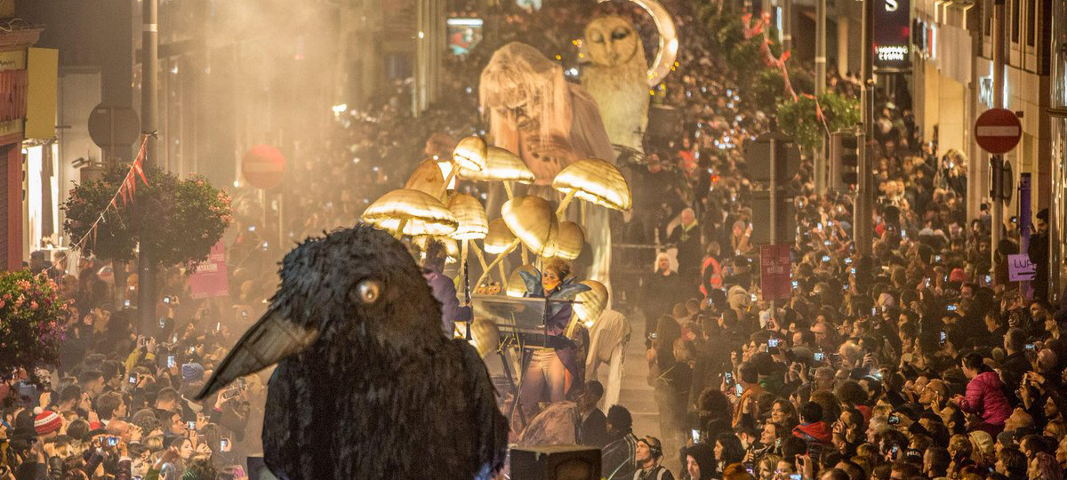 The annual Macnas Halloween parade in Galway