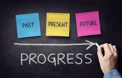 Past present and future time progress concept on blackboard or chalkboard with hand writing in chalk