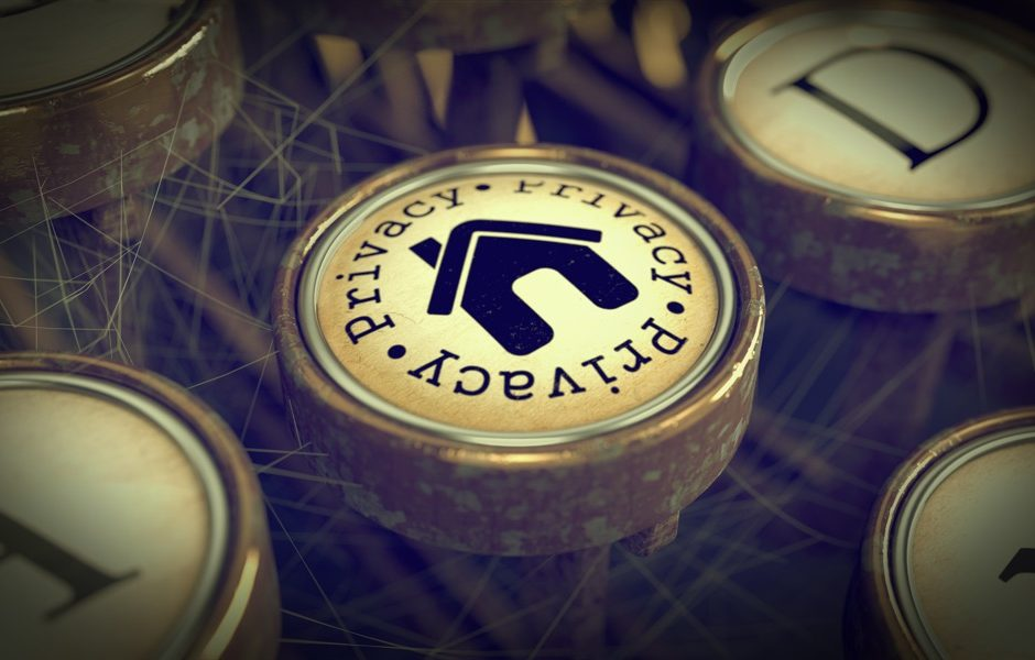 Privacy Button with Home Icon on Old Typewriter. Grunge Background for Your Publications. 3D Render.
