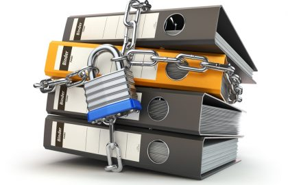 Data and privacy security. Information protection. File folder and chain with lock. 3d