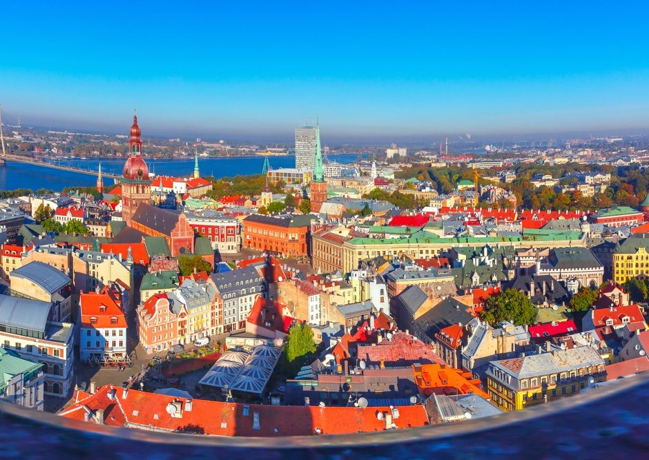 Aerial scenic panorama of Old Town from Saint Peter church, with Riga Cathedral, Cathedral Basilica of Saint James and Riga castle, Riga, Latvia
