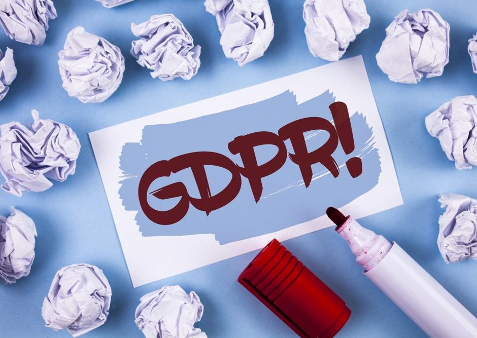 Handwriting text Gdpr Motivational Call. Concept meaning General Data Protection Regulation Information Safety written Painted Sticky Note Paper within paper balls plain background Marker.