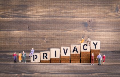 Privacy, GDPR. General Data Protection Regulation. Cyber security and privacy concept. Wooden letters on the office desk, informative and communication background