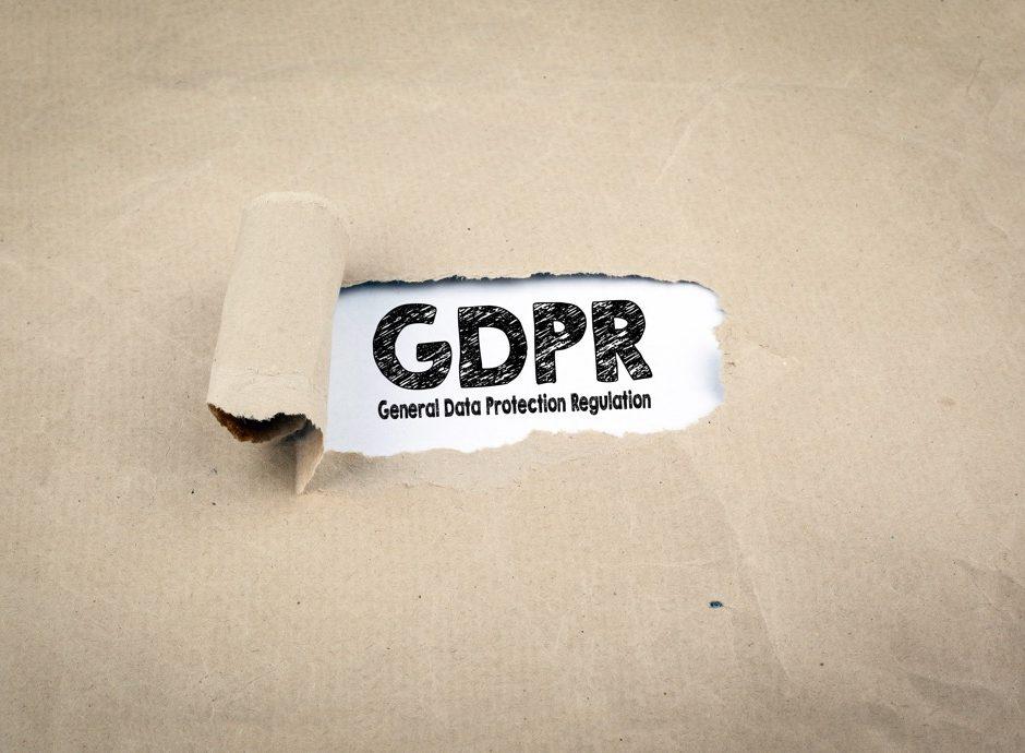 Inscription revealed on old paper - GDPR General Data Protection Regulation