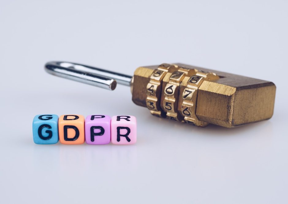 GDPR word text written on colorful cube with padlock on white background