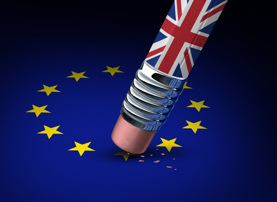 Britain European Union decision as a brexit leave concept and UK leaving vote or Euro zone crisis as a pencil with the british flag erasing a star of the Europe icon as a 3D illustration.