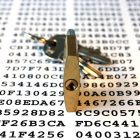 Cipher keys and padlock with keys symbolizing encryption