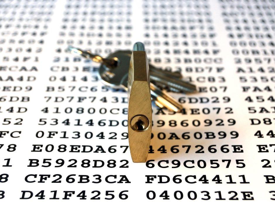 Cipher keys and padlock with keys symbolizing encryption