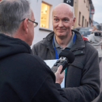 Congregation founder Eoin Kennedy is interviewed by Conn Ó Muíneacháin for The Blacknight Podcast. Photo: Gerry Dzerinaldas, Dreamline Photography