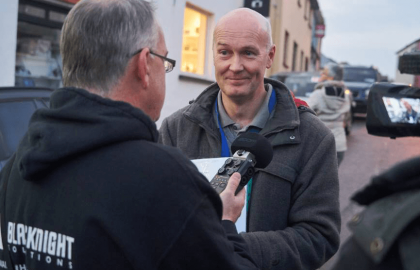 Congregation founder Eoin Kennedy is interviewed by Conn Ó Muíneacháin for The Blacknight Podcast. Photo: Gerry Dzerinaldas, Dreamline Photography