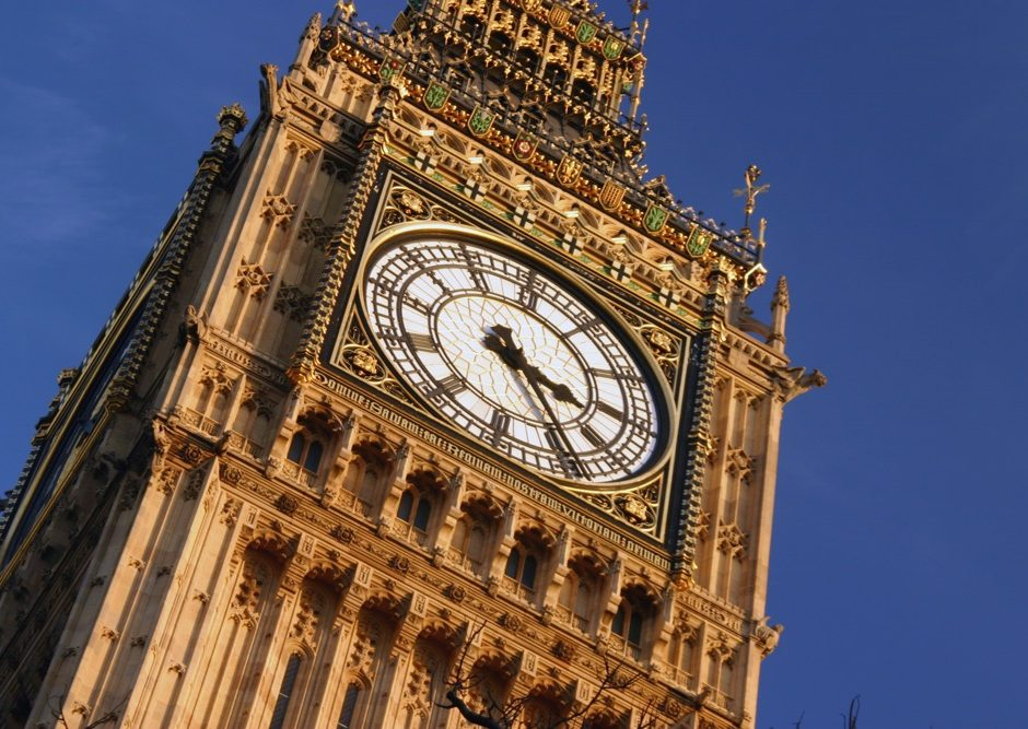 Big Ben, Londons famous clock tower found at the houses of Parliament