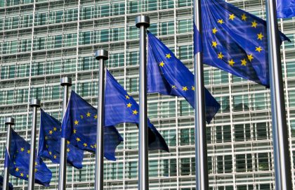 European flags in front of the European Commission headquarters in Brussels, Belgium.