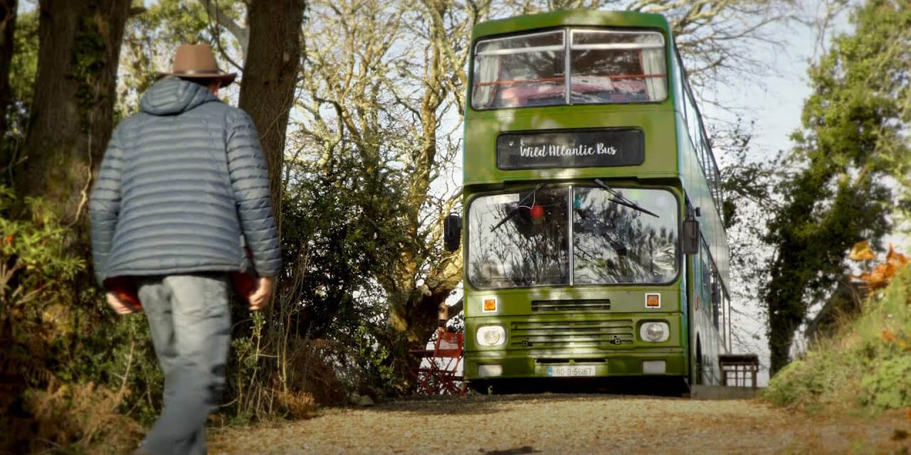 The Wild Atlantic Bus is a glamping destination near the shores of Lough Corrib.
