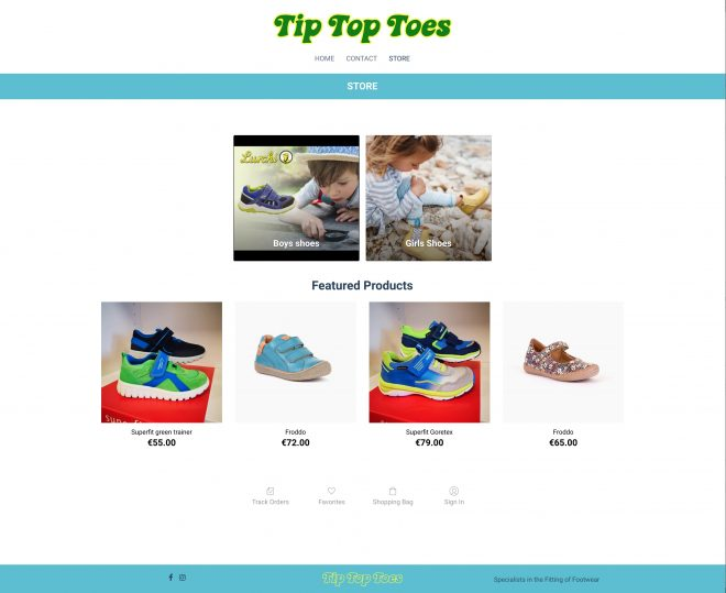 tip-top-toes-blacknight-shopbuilder-example