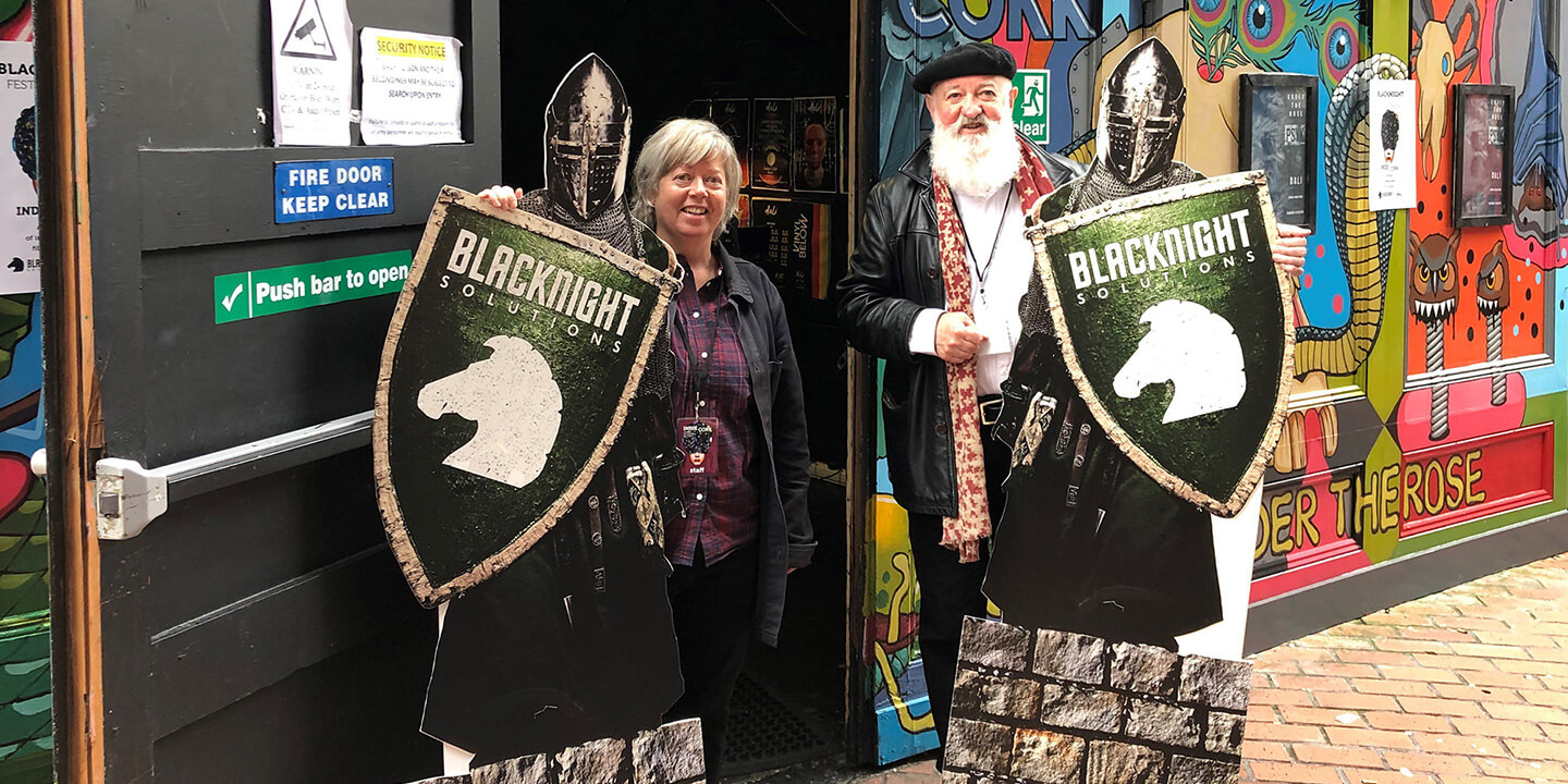 IndieCork organisers Úna Feely and Mick Hannigan with the Blacknights at the 2019 festival